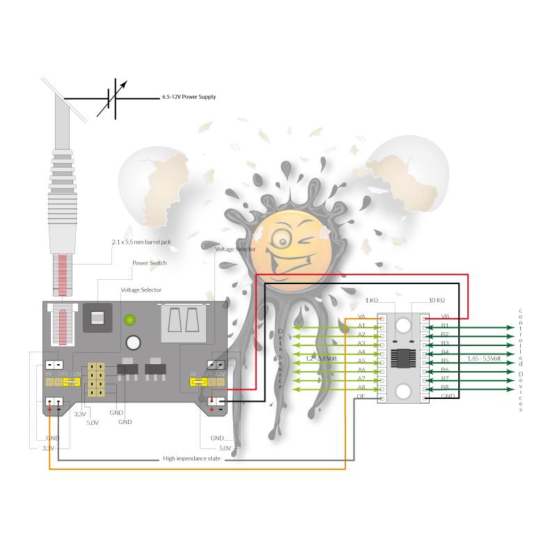 TXS0108E Logik Level Konverter Anschlussbelegung