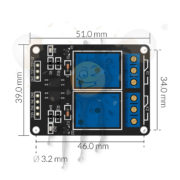 5V 2 channel relays module dimensions