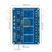5V 4 kanal relais modul dimensions