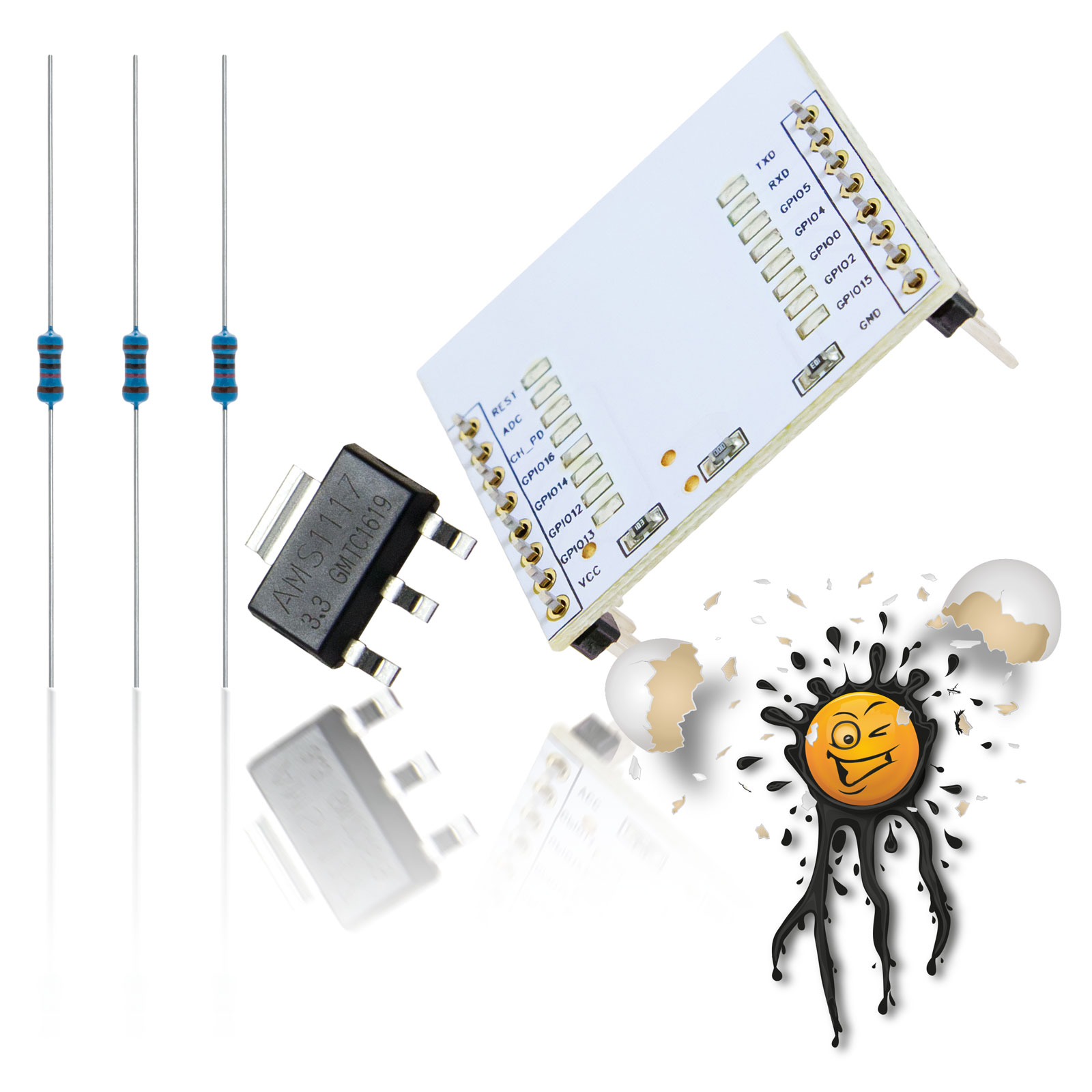 ESP8266 I/O Adapter + AMS1117 Voltage Converter + Resistors Set