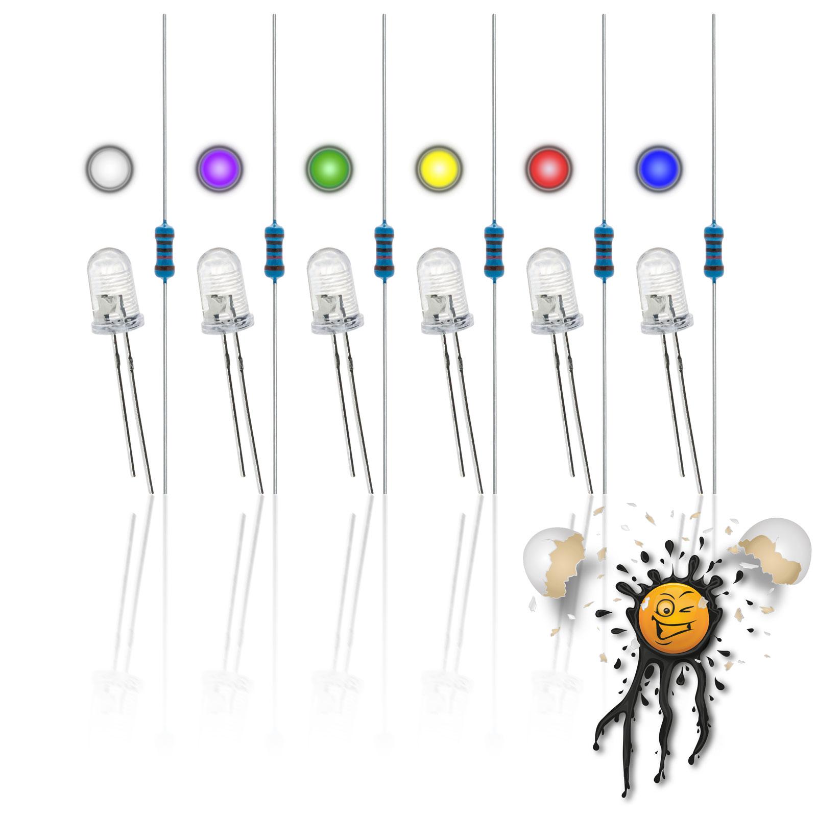 3 mm LED assortment incl. resistors