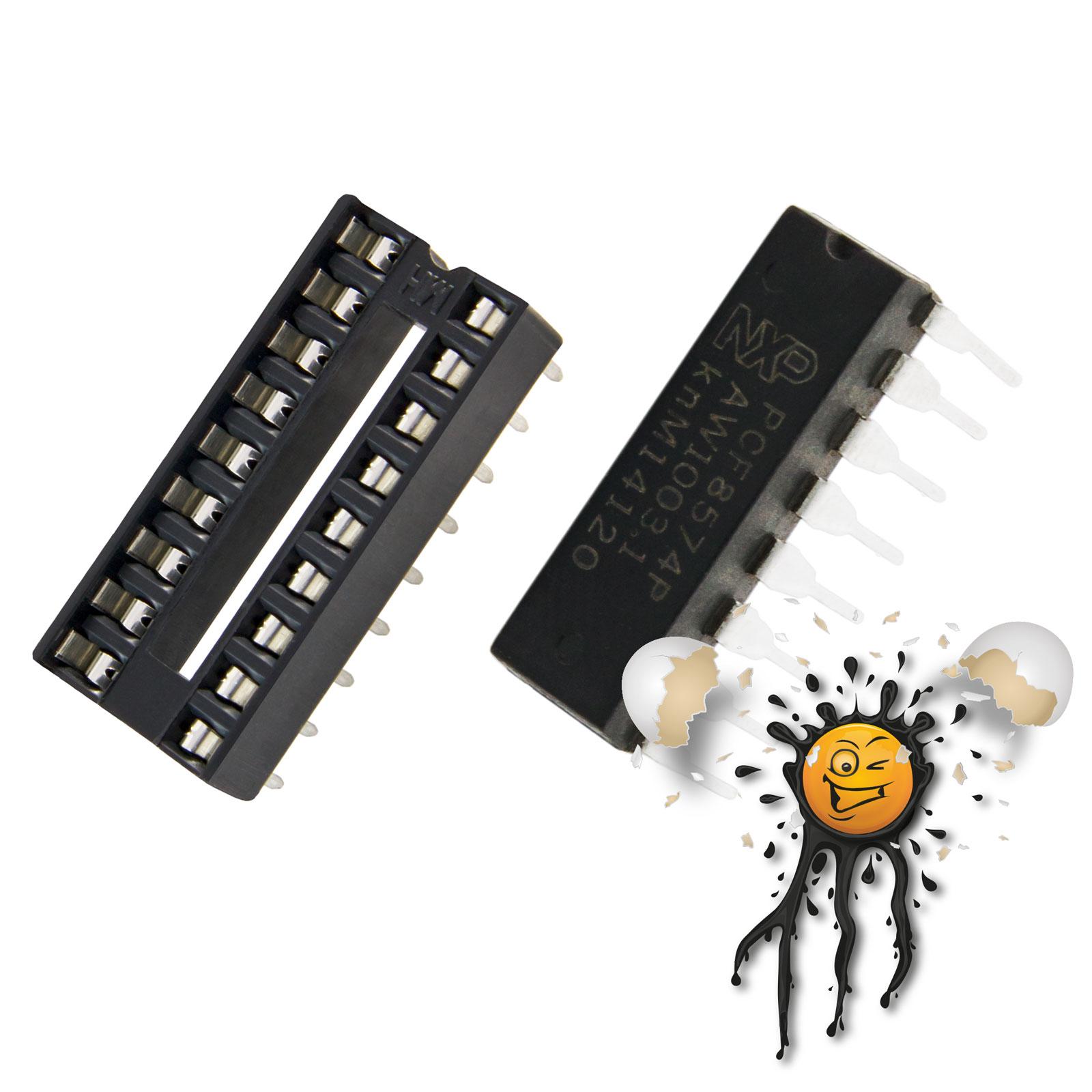 PCF8574 I2C Bus Expander incl. 2 row 8 pin socket