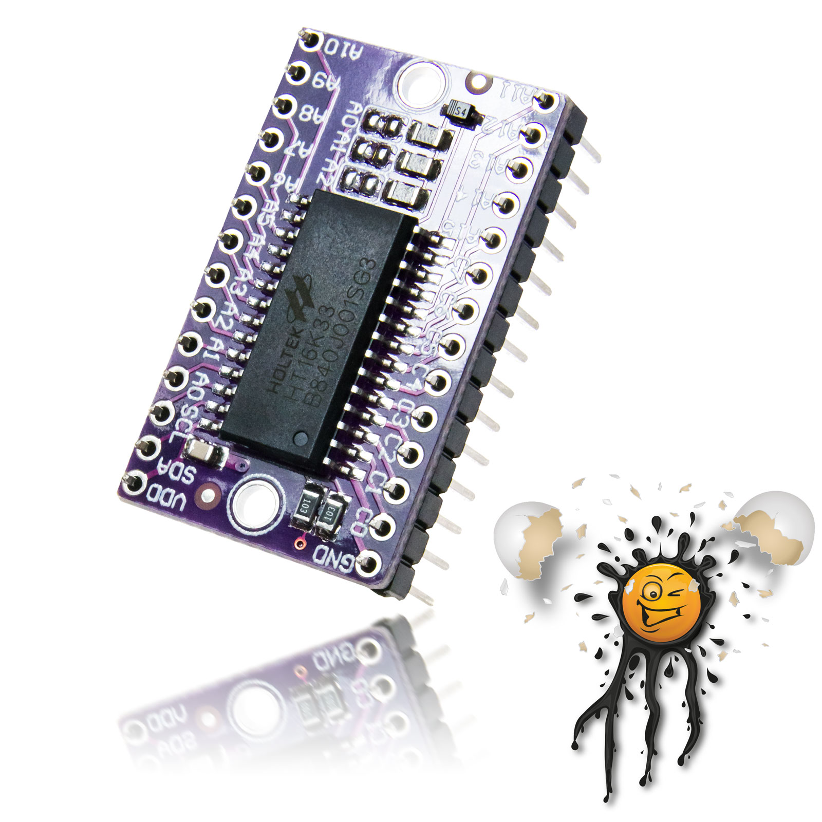 HT16K33 LED DOT Matrix Driver Board mit Pinleiste