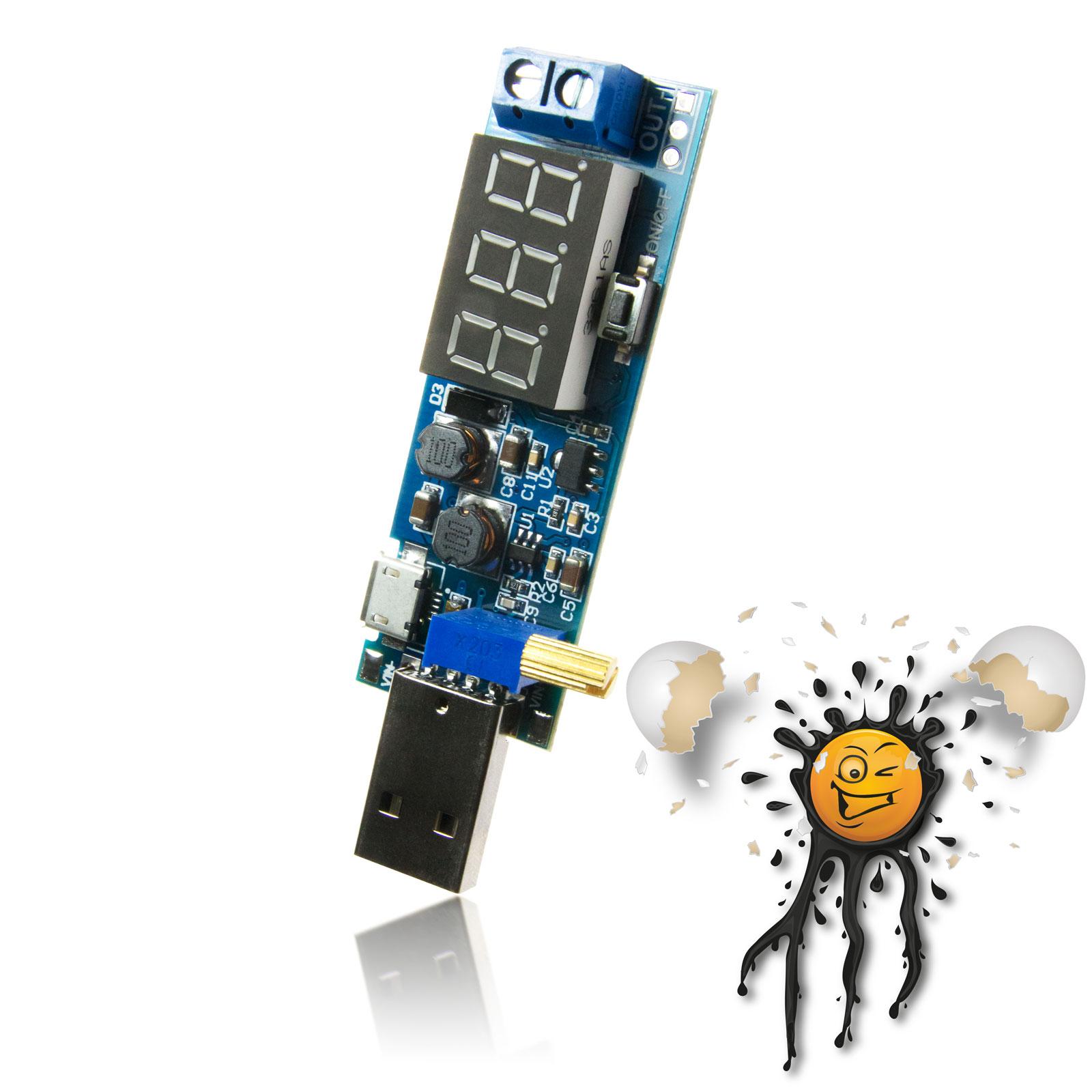 USB 1.2V - 24V Boost Konverter mit Voltanzeige