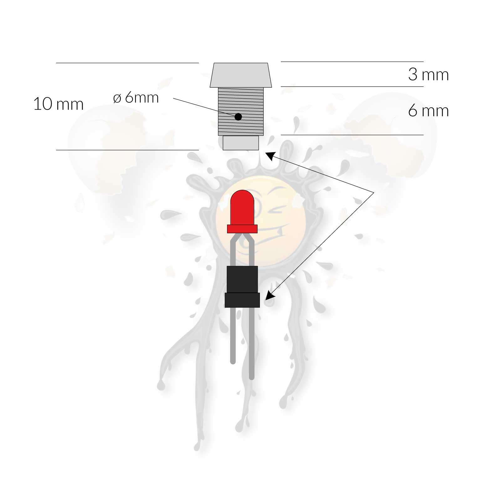 3mm Metal LED Holder Dimensions