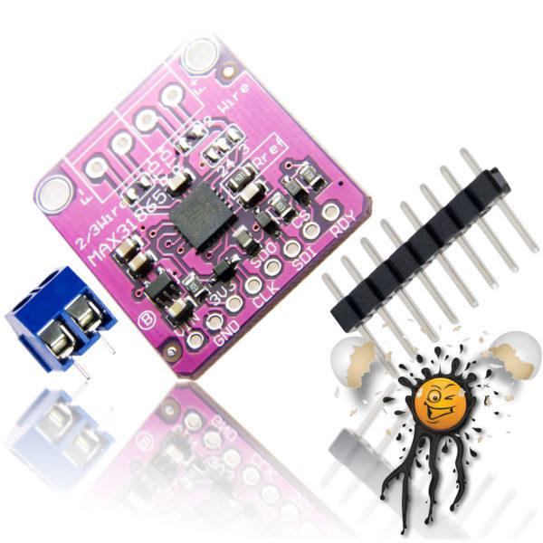 PT100 SPI RTD Sensor Converter MAX31865 incl. Screw Connector and Pinheade