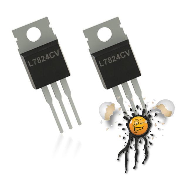 2 pcs. TO-220 Voltage Regulator L7824 IC